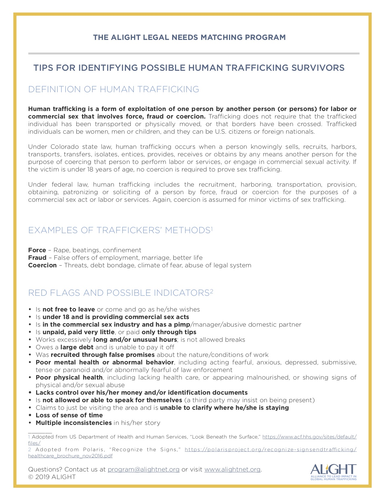 Tips for Identifying Possible Human Trafficking Survivors