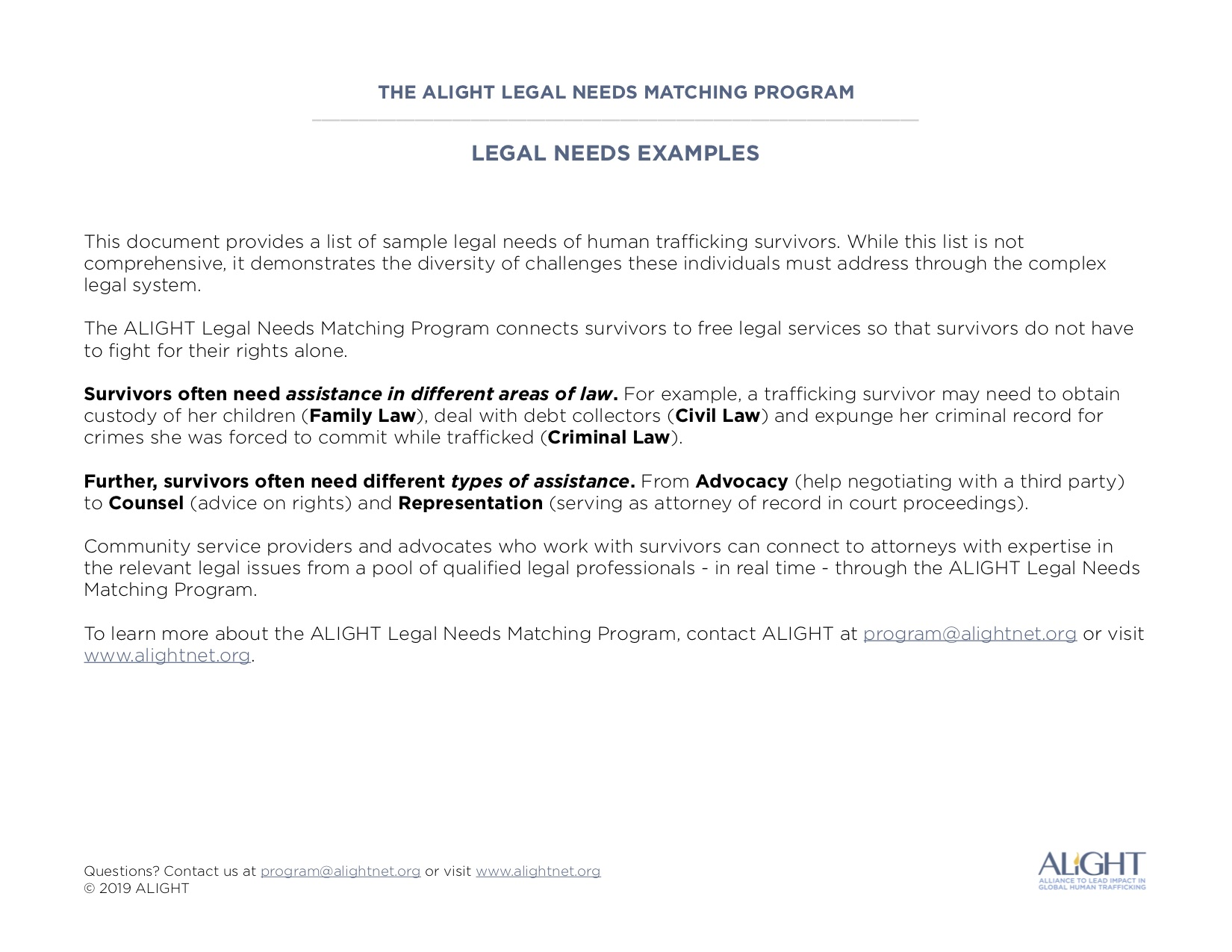 Legal Needs Examples
