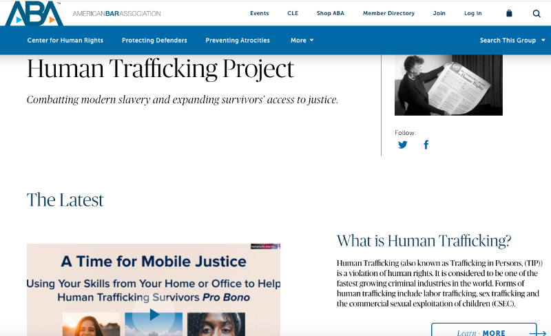 American Bar Association Names ALIGHT Human Trafficking Project