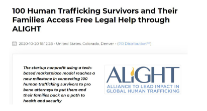100 Human Trafficking Survivors and Their Families Access Free Legal Help through ALIGHT